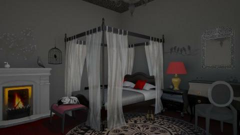red bedroom - Classic - Bedroom - by Nan