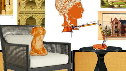 Orange, black, neoclassic reading corner - by Grant K Gibson