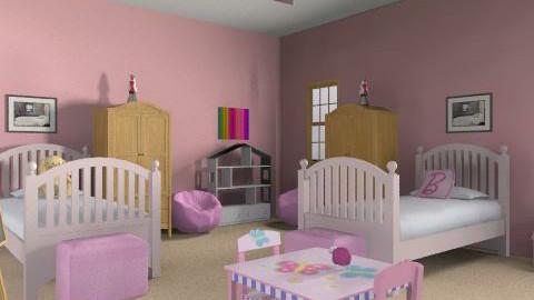 Twin Girls Bedroom - Feminine - Bedroom - by yankees2