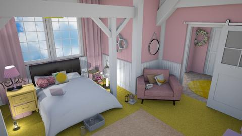 Flowery pink yellow - Kids room - by abuch71