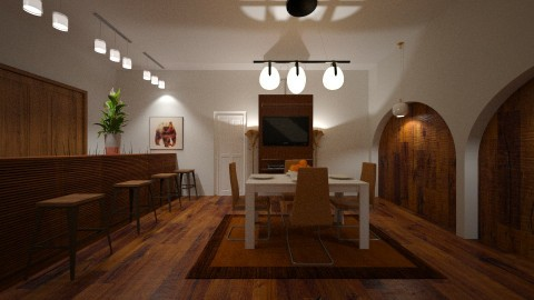 BAR AREA  SEATING - Rustic - Dining room - by DMLights-user-1593471