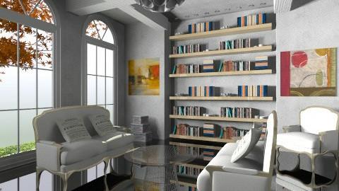 white livingroom - Glamour - Living room - by aga512817