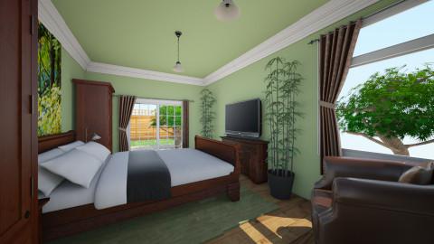 Victorian Green Bed - Minimal - Bedroom - by Lisett