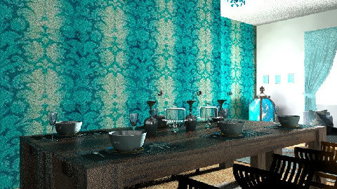 blue dining room - Modern - Dining room - by rororo
