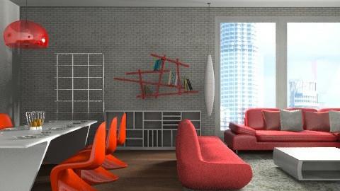 red - Classic - Living room - by Aliya Al