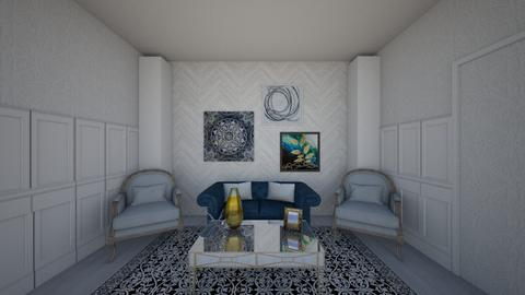 blue and gold living room - Living room - by haydenak472