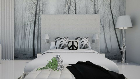 Monochrom bed-m. Panorama - Bedroom - by XValidze