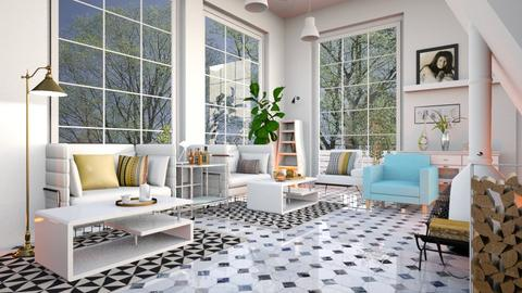 Checkered_Tiles - Living room - by ZuzanaDesign