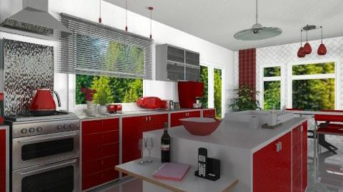Red Splash - Modern - Kitchen - by Bibiche