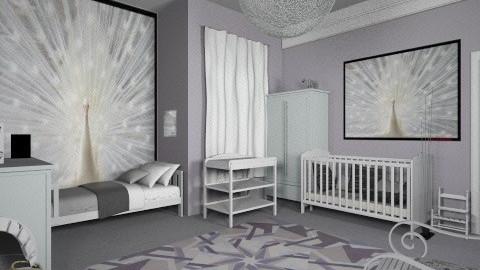 white peacock - Kids room - by Karen Priest