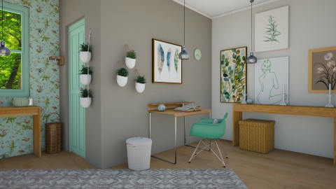 Little Leaves Green House - Feminine - Office - by Eurydice