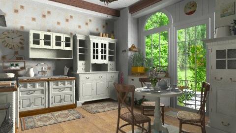 Country Breakfast - Kitchen - by Violetta V