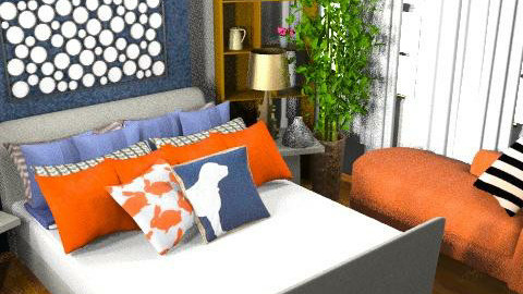 Orange and Navy Bedroom - Retro - Bedroom - by amanda89ab