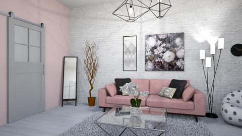 Pink Close Up Living Room - by Courtneyaziz