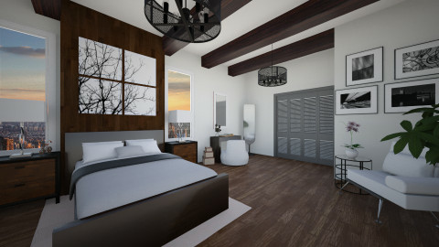 White and wood  - Modern - Bedroom - by GoliaNova
