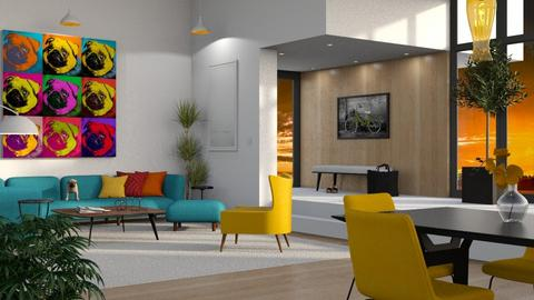 Playful Pop Art Pug - Living room - by GraceKathryn