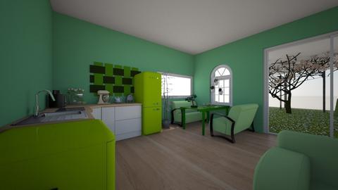 groen wit huis - Rustic - Living room - by Nina van vliet