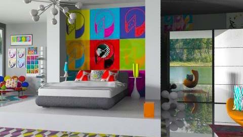 Pop Art Bedroom 2 - Retro - Bedroom - by idesine