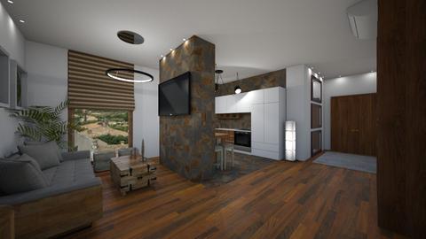 modern single flat - Living room - by michalbank11