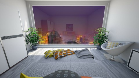 grey floor city view - Modern - Bedroom - by keteya weatherall
