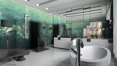 banheiro ladrilho azul - Vintage - Bathroom - by Talles Paganotti