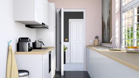 Narrow pink kitchen - Minimal - Kitchen - by HenkRetro1960