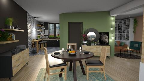 Living room and kitchen - Dining room - by Mandine