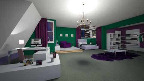 Green purple bedroom - Feminine - Bedroom - by mariateresadrago