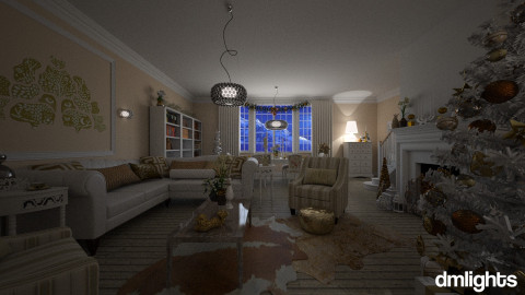 White And Gold Christmas - Living room - by DMLights-user-982019