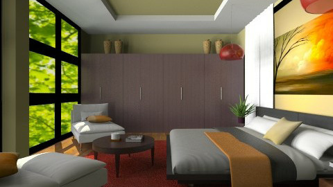 RedBrownGreen - Modern - Bedroom - by channing4
