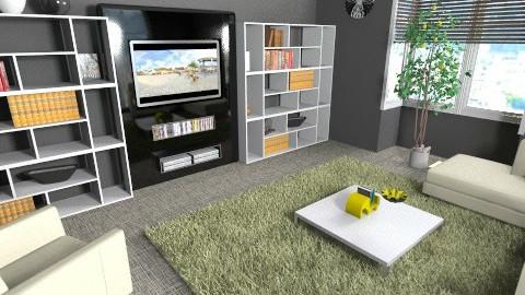 black and lemon den - Living room - by teen bedroom