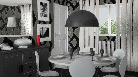 RR18 Monochrome - Dining Room - by KarenWilkinson