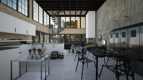 industrial interior - Kitchen - by GosiaT