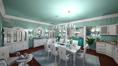 Turquoise Dining Room - by DiamondJ569