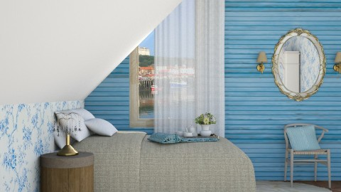 Blue Wood - Vintage - Bedroom - by DeborahArmelin