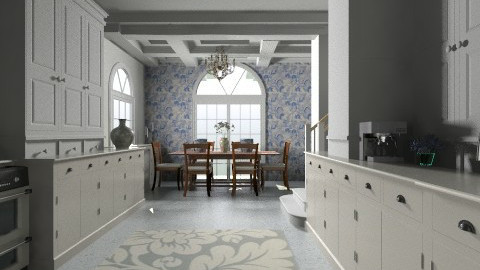 Blue Kitchen - Classic - Kitchen - by PomBom