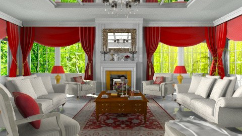 red and white - Classic - Living room - by XValidze