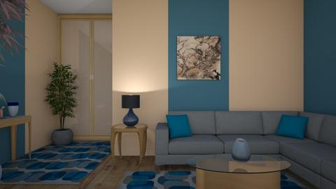 Beige and blue - Living room - by Ana Angela