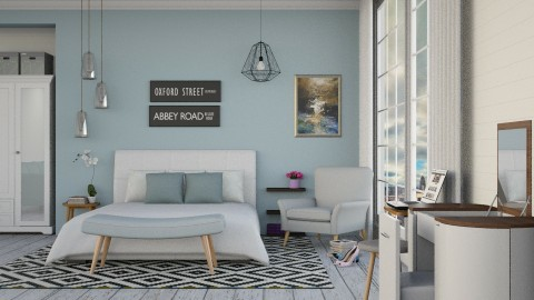 Blue Bedroom - Modern - Bedroom - by ayu DR