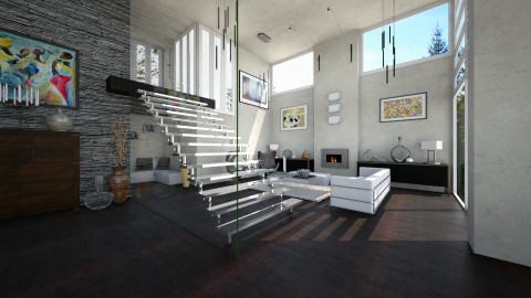 Glass Stair - Modern - Living room - by evahassing
