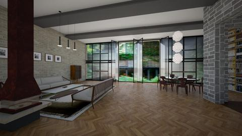 brick and glass - Modern - Living room - by kitty