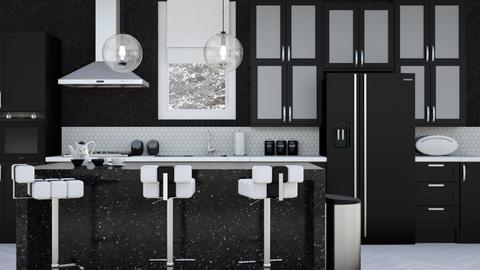 Black White Kitchen - Kitchen - by jjp513