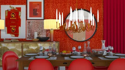The red dining room - Glamour - Dining room - by HenkRetro1960