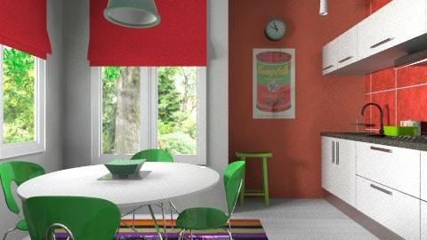 Red green kitchen - Modern - Kitchen - by Tuija