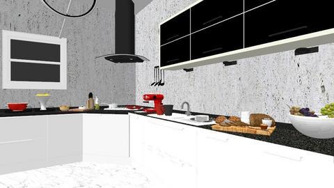 Black White Red Kitchen - Modern - Kitchen - by elenatsempeli