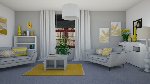 Yellow Grey White - Living room - by KarmaKitten