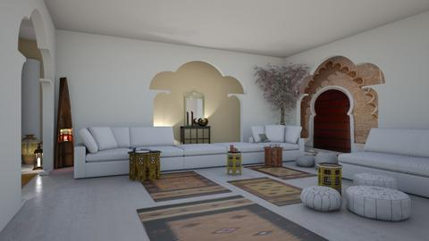 India in white - Living room - by nat mi