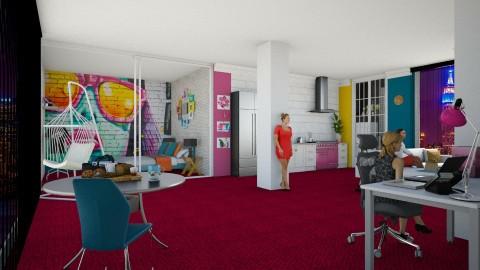 teen flat - Retro - Bedroom - by carina68