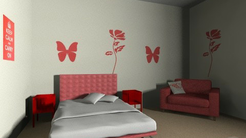 red bed room - Modern - Bedroom - by bethany nash