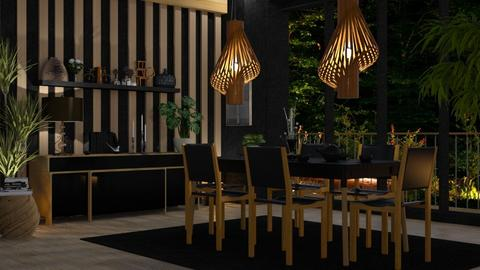 M_ Black and oak - Dining room - by milyca8